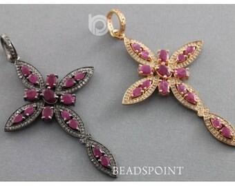 Pave Diamond Pendant, Pave Diamond and Ruby Cross Pendant, Diamond Cross Pendant, Ruby Cross Pendant, Cross Pendant, (DP-1620)