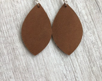 Genuine Leather Brown Classic Earrings | light brown