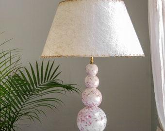 Mid Century Lamp With Fiberglass Shade - Rewired Modern Table Lamp - Retro Decor