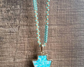 Turquoise beaded necklace, long necklace, multi layer necklace, bohemian jewelry, turquoise arrowhead pendant, turquoise pendant,