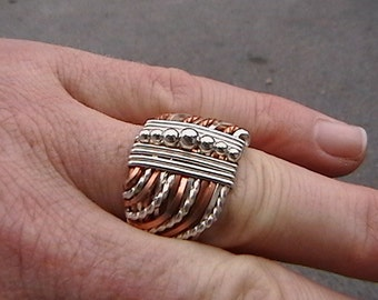 Sterling silver and copper wire wrapped ring size 10