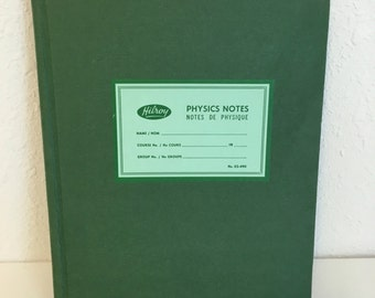 vintage physics notebook, blank hilroy notebook