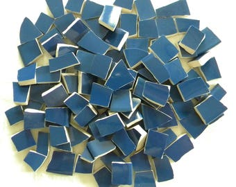 Mosaic Tiles - Solid NAVY BLUE - Recycled Plates - 100 Semi-Gloss Tiles