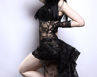 Short Black  Noir Lace Mid Length Bustle Wrap Lingerie Boudoir Rave MTCoffinz - All Adult Sizes