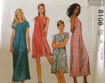 McCalls Short Sleeve Pattern, Uncut, Size 12-16