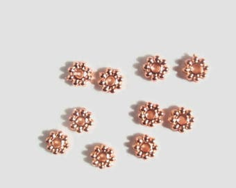 50 Tiny Rose Gold color, Flower spacer Beads, 5 mm X 1.5 mm, Jewelry making Supply, Rondelle, Plate Alloy, High Luster
