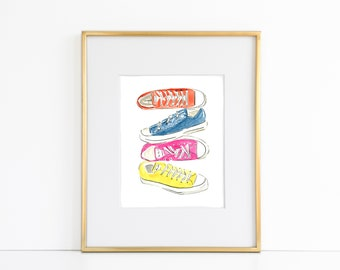 Converse Sneakers, Instant Art Print, Fashion Print, Shoe Art, Printable Watercolor Wall Decor, Shoes, Fashion Art, Printables, Kids Decor