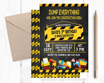 Dump Everything Invitations, Dump Truck Invitations, Dump Truck Invitation, Construction Themed Invitations, Construction Invitations, Truck