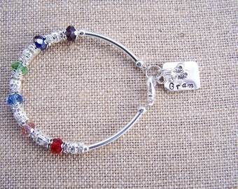Personalized Handstamped Charm Bracelet with Birthstone Beads