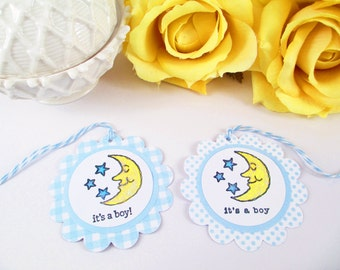 10 Moon and Stars Thank You Tags - Baby Shower Boy Favor Tags - Moon and Stars Thank You Tags - It's a Boy Bag Tags - Blue Baby Shower Tags