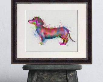 Watercolor print - Dachshund 1 - Colorful print decor Cute gift for her UK shop Family gift ideas Best friend gift Living room wall art