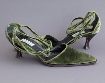 velvet green heels / vintage retro womens shoes / strap shoes womens / lacing heels
