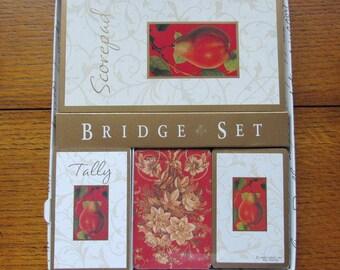 Hallmark Bridge Set, 2 Card Decks, Tally's, Score Pad, New Vintage, Free Shipping