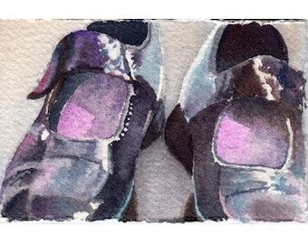 ATC ACEO Childs black Mary Jane shoes
