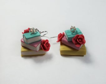 Stacked Book Earrings- 50's Inspired Book Lover Gift, Vintage Books, Librarian Gift, Polymer Clay Earrings, Roses, Flowers, Valentine