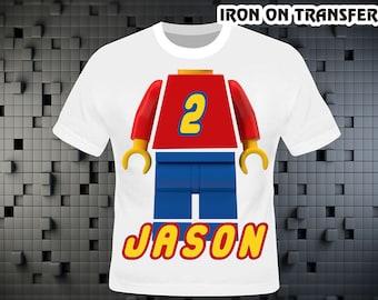 Lego , Lego Iron On Transfer , Lego Birthday Shirt DIY , Lego Shirt DIY , Boy Birthday Shirt , Lego Party , Persolalize Name , Digital File