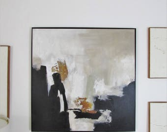 Hand Painted Original Painting, Abstract Art,  Painting on Canvas, Black and white