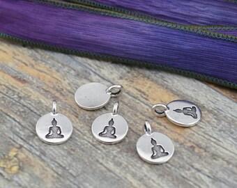 Buddha Charms, Antique Silver, TierraCast Charms, Tiny Pendants Sitting Buddha Charm Drops, Qty 4 to 20, Yoga Meditaton Wrap Bracelet Charms