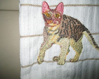 cat hand / dish towel tigered