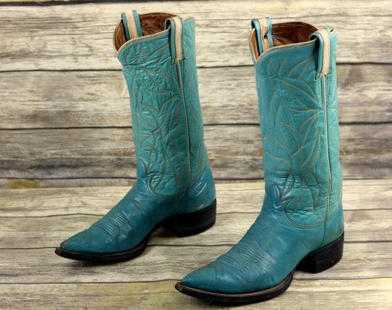 Tony B Boots Womens 5 Leather Western Blue Vintage Lama Size Turquoise Cowboy 6wrO16