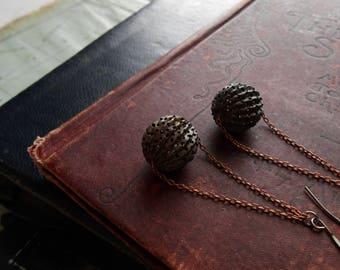mace - trapeze earrings filigree ball earrings oxidized copper earrings minimal earrings dangle earrings chain earrings