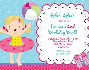 Pool party birthday invitation -- girls pool party swimming party - girl swimmer pool party