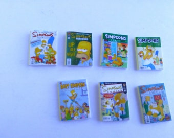 Simpsons Collection of 7 Comic Books Dollhouse Miniature Handmade, 1:12th scale (Set #6)