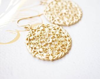 Earrings, Gold Earrings, Dangle Earrings, Drop Earrings, Floral Earrings, Lace Earrings, Handmade Earrings, Bridesmaid Earrings, Gift