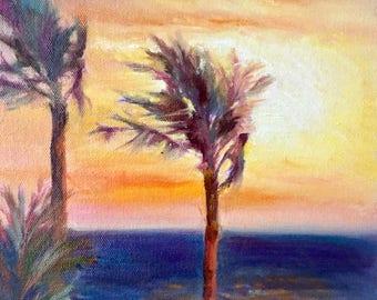 "Seascape, Beach Art, Hawaii Painting, Ocean Art, Maui Art, Small Original Oil Painting by Tina Wassel Keck, Oil on canvas on panel, 8""x 8"""