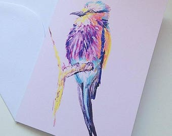 Bird Card ~ Blank Greetings Card ~ Card for Her ~ Lilac Breasted Roller Bird ~ Art ~ Illustration