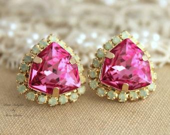 Pink Green Mint Opal  Rhinestone Crystal stud earring  bridal earrings - 14k 1 micron Thick plated gold earrings real swarovski.
