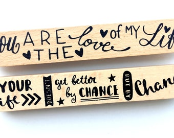 Set of 2 wood rubber border stamps   quotes stamps   you are the love of my life   handlettering