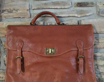 Stone Haven Made in Italy sac en cuir brun Breifcase/Labtop/sac de voyage.