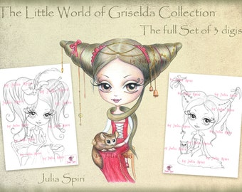 Set of 3 Digital Stamps,  Vintage Digi, Little girl, Big Eyes, Owl, Chinchilla, Gothic, Coloring. The  Little World of Griselda Collection.