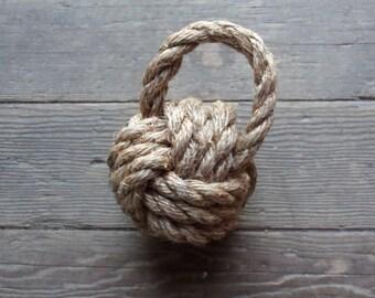 Rope Doorstop Nautical Nursery Bookend Doorstop Handknotted Monkey Fist Knot Natural