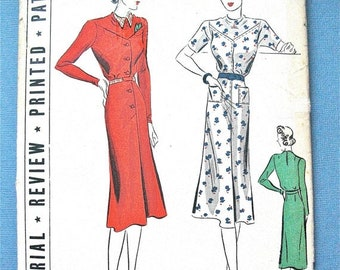Spring Sale Uncut 1930s Vintage Pictorial Review Printed Pattern 9494  Bias Yoke Patch Pockets Unusual Frock Dress Pattern  Bust 34 inches