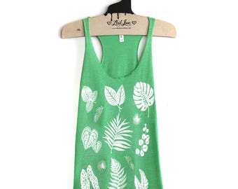 Small- Heather Green Tri-Blend Teal Racerback Tank with Plant Print Screen Print