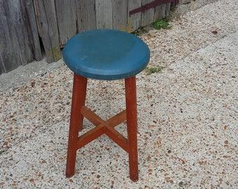 Vintage Retro Blue Seated Stool