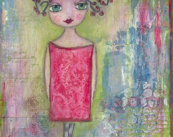 ART PRINT - PRUDENCE :  Mixed Media Whimsical Art  The Dreamer Print A4 size Free local Postage