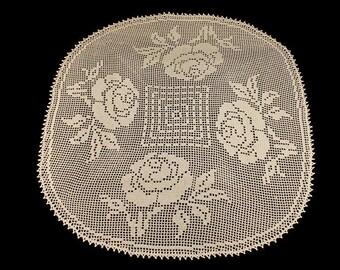 Doily, Crochet, Tablecloth, Rose Design, Handmade, Square, Elegant Roses  33 iInch