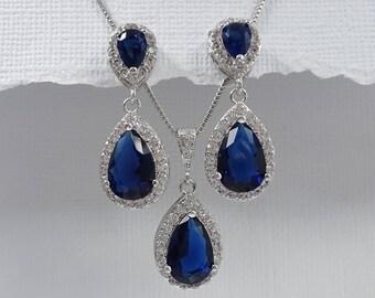 Dark Blue Jewelry Set, Navy Jewelry Set, Dark Blue Crystal Jewelry Set, Dark Blue Wedding Jewelry Set, Bridesmaid Jewelry Set Navy