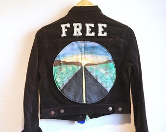 """Brown Corduroy Custom Patched and Painted """"FREE"""" Jacket"""