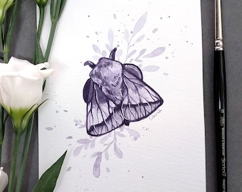Amethyst Moth - Original watercolor painting - 10x15cm