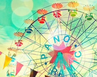 Ferris wheel photography print Barcelona Spain, turquoise, carnival, wall art, baby, circus, summer, wall decor by bomobob