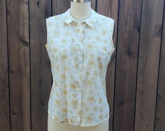 Vintage Glenbrooke Sleeveless Blouse with Gold Flower Print