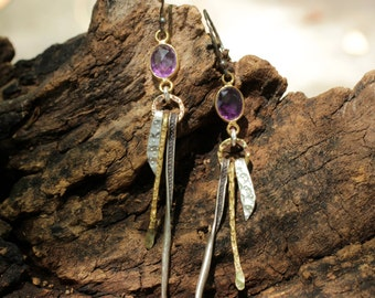 Amethyst bead dangle earrings with silver and brass hand crafted accents