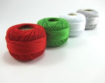 Christmas Pearl Cotton Set - 4 Presencia Finca Perle Cotton - Red, Green, White, Gray