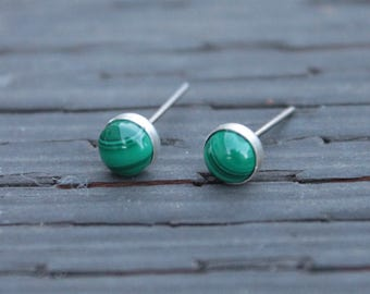 Malachite Gemstone Titanium Stud Earrings / 6mm Cabochon Bezel Set / Hypoallergenic Earrings Studs