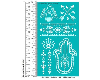 Stencil Stencils, Wall stencil, Dress, Pattern Template, Reusable, Adhesive, Flexible, for polymer clay, fabric, wood, glass, card | HAMSA
