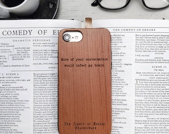 Funny Shakespeare Insult Quote, Wood iPhone X Case, iPhone 8 Plus, 8,  7, 6s Plus, Galaxy S8 Plus, S8, Note 8, S7 Edge, S5 Literary Gifts
